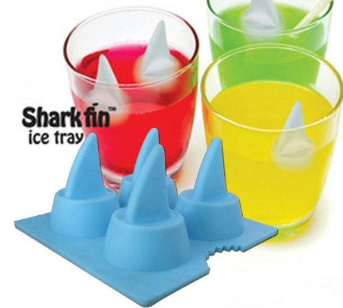 Funny Shark Fin Ice Cube Tray 4-tray Eco-friendly Silicone Ice Mould Blue/gray (1 Pieces) (Ice Cube Shark compare prices)