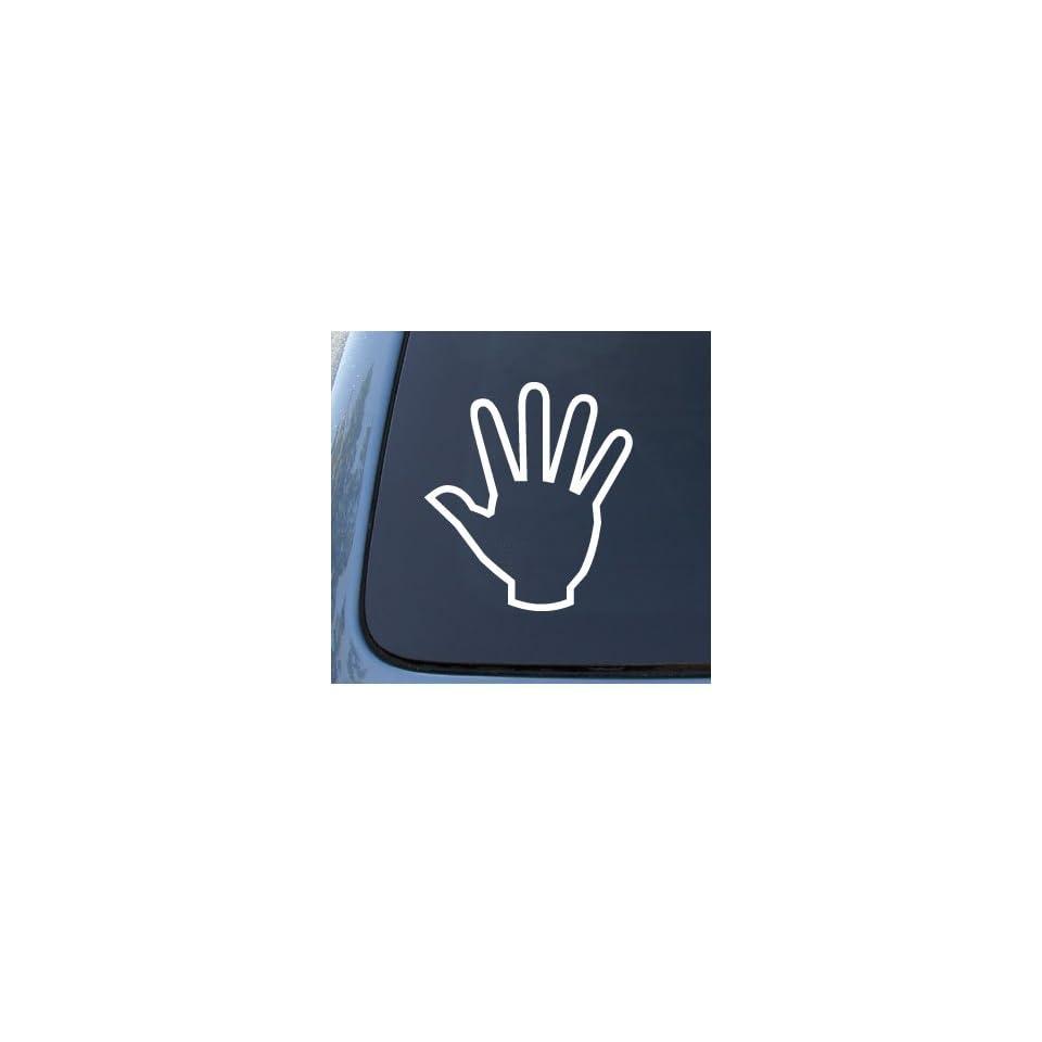 HAND   Stop High Five   Car, Truck, Notebook, Vinyl Decal Sticker #1017  Vinyl Color White