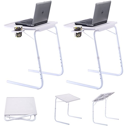 2 x Table Mate Adjustable PC TV Laptop Desk Tray Home Office s/ Cup Holder White (Glass Dinner Tray compare prices)