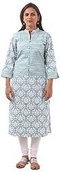 New Pinch Trends Women's Synthetic 3/4 Sleeve Kurti (NPTAV-BlueJacketLycra1002_M, Sky Blue, Medium)
