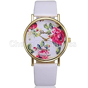 Great Deal Hot sale Geneva Faux Leather Women Rose Flower Quartz Watches