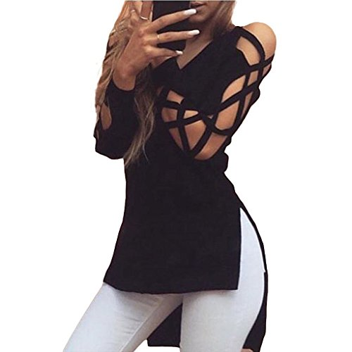 monroe-s-womens-high-low-cut-out-long-sleeves-top-tunic-blouse-shirts