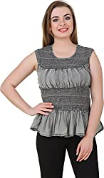 Petipack Women's Slim Fit Top (PP037, Grey, Small)