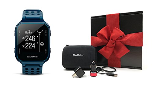 Garmin-Approach-S20-Midnight-Teal-Gift-Box-Bundle-Includes-Golf-GPS-WatchActivity-Tracker-PlayBetter-USB-Car-Wall-Charging-Adapters-Protective-Hard-Carrying-Case-Black-Gift-Box-and-Red-Bow