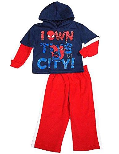 [Spiderman - Little Boys' Long Sleeve Spiderman Jog Suit Set, Navy, Red 36502-6] (Blue Spiderman Suit)