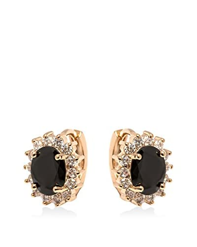 Barzel Jet Black Crystal Spike Flower Huggie Earrings