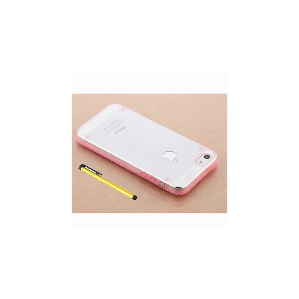 Hard Plastic Snap on Cover Fits Apple iPhone 5 5S Ultra thin Pink Transparent Bumper + A Gold Color Stylus/Pen AT&T, Cricket, Sprint, Verizon (Please carefully check your device model to order the correct version.)