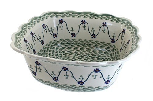 polish-pottery-sage-floral-large-square-serving-dish-by-blue-rose-pottery