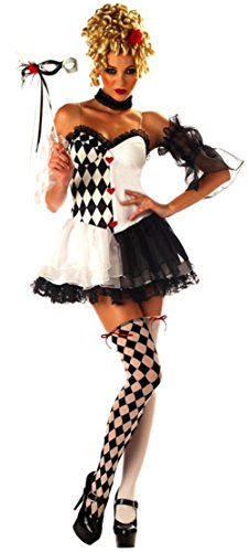 [Lady Sexy Le Belle Harlequin Halloween Costume Fancy Dress Thigh Highs Mask] (Le Belle Harlequin Adult Costumes)