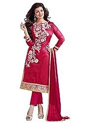 Cenizas Pink Colour Mix Cotton Embroidered Unstitched Salwar Suit