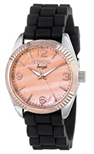 Invicta Women's 15880 Angel Rose Gold Mother of Pearl Dial Black Strap Watch