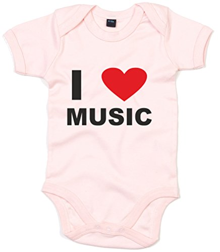I Love (Heart) Music, Printed Baby Grow - Powder Pink/Black/Red 6-12 Months front-1028644