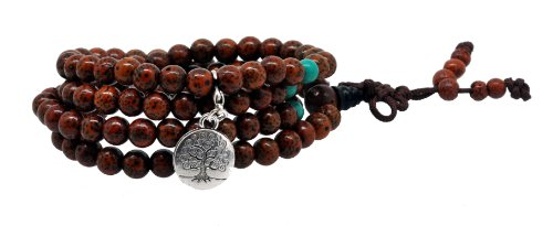 Tibetan Bodhi Beads Dyed Brown Daemonorops Seeds Prayer Beads Mala Necklace Wrap Bracelet (Round Tree of Life)