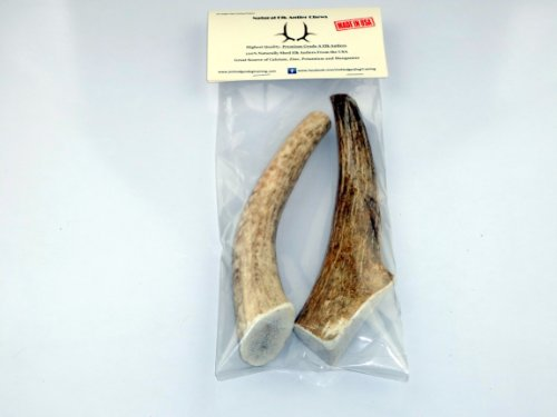 Grade A Premium Quality Elk Antler Dog Chew - Medium 2 Pack - Naturally Shed - Made In America - Safe, Healthy, Long Lasting Treat Alternative To Dog Chews, Toys Or Bones - Antlers Hand Picked For Jim Hodges Dog Training - Satisfaction Guaranteed