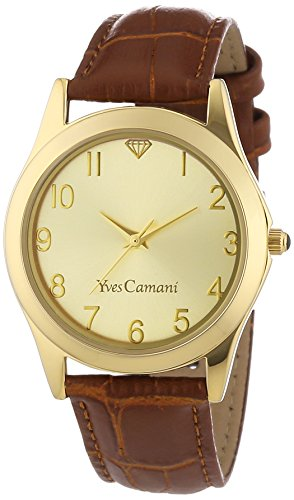 Yves Camani Women's Durance Quartz Watch with Gold Dial Analogue Display and Brown Leather Bracelet YC1058-C
