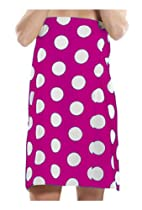 Terry Women Bath Wrap Towel Cotton Cover Up Made in USA Velcro Closure - One Size Light Purple Polka Dotted