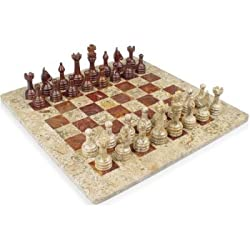 "16"" x 16"" Fossil Marble & Red Onyx Chess Set Staunton Free Velvet Gift Box"