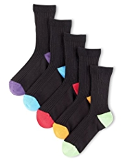 5 Pairs of Cotton Rich Contrast Heel & Toe Ribbed Socks