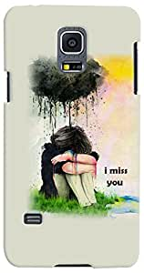 PrintVisa 3D-SGS5MINI-D7787 Girly Miss You Case Cover for Samsung Galaxy S5 Mini