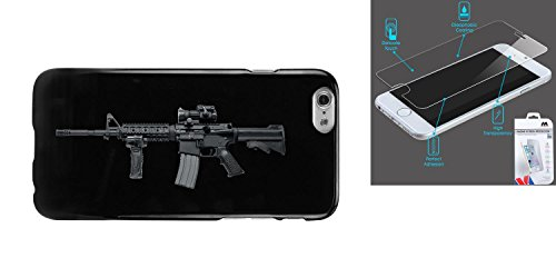 Combo pack Cellet Black Proguard Case with Assault Rifle for iPhone 6 And MYBAT Tempered Glass Screen Protector for APPLE iPhone 6