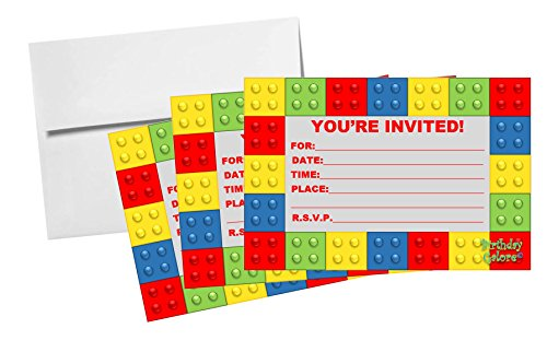 Why Choose Block Brick Shapes Birthday Party Invitations & Envelopes (8 Count)
