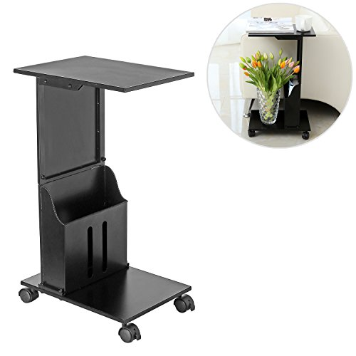 Metal Rolling Snack Side Table, Accent Magazine Rack Chairside Table, Black (Metal Snack Tray compare prices)