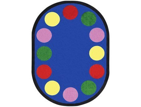 Joy Carpets Kid Essentials Early Childhood Border Round Lots of Dots Rug, Multicolored, 7'7""