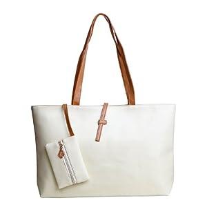 HDE Women's Classic Faux Leather Medium Tote Shoulder Bag Fashion Handbag