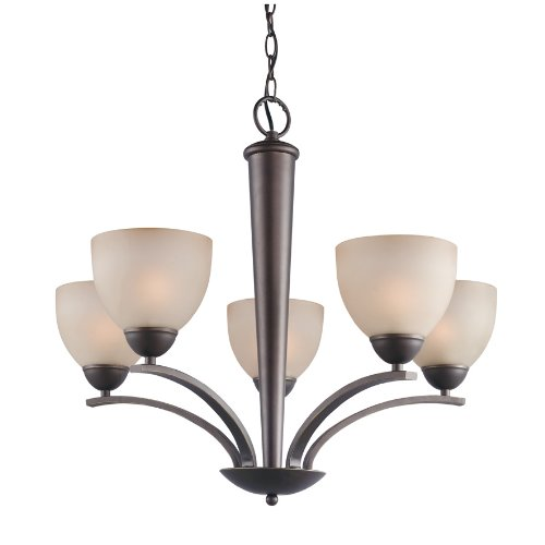 Woodbridge Lighting 13015MEB-C20602 North Bay 5-Light Chandelier, 26-1/-2-Inch by 23-1/2-Inch, Metallic Bronze