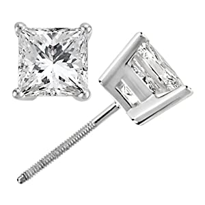 0.75ct. Princess Cut Diamond Stud Earrings Platinum (G-H, VS2-SI1)