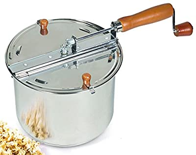 Cook N Home 6.5 Quart Stainless Steel Popcorn Popper Stovetop by Neway International Housewares
