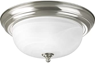 Progress Lighting P3925-09 Two Light Flush Mount, Brushed Nickel Finish with Etched Alabaster Glass
