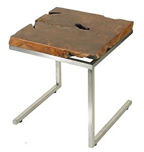 Bare Decor Iceberg Accent End Table, Matte Finish Legs and Solid Teak Wood Top
