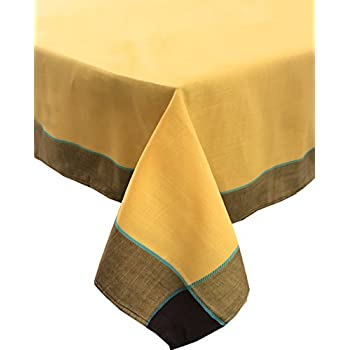 Fennco Styles Maison Beaujard Provençal Design Tablecloth. One Piece. (70 Inch Square, Marigold)