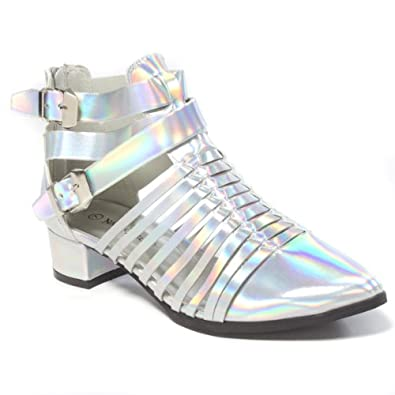 Nature Breeze Womens OSLO01 Pointy Closed Toe Cut Out Strappy Chunky Low Heel Ankle Bootie Boots Shoes, Silver Holographic PU Leather, 6 B (M) US