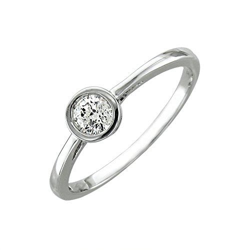 14K White Gold Solitaire Bezel Set Diamond Engagement Ring Band (Hi, I2-I3, 0.25 Carat)
