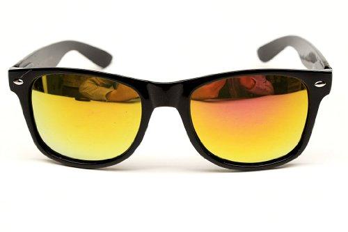 Flat Matte Reflective Revo Color Lens Large Horn Rimmed Style Sunglasses - UV400 ((Backup) Black/Sun..
