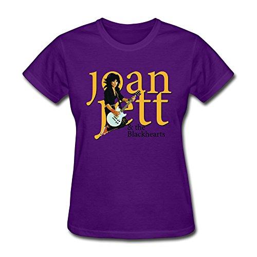 [JUJ Joan Jett & The Blackhearts Women's Crew Neck T-shirts Purple XX-Large] (Joan Jett Wigs)