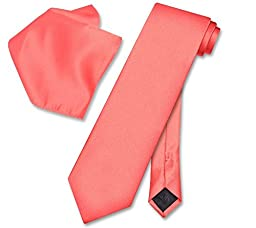 Men\'s Solid Color NeckTie & Matching Pocket Square Handkerchief Set (Coral Pink )