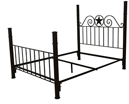 Rustic / Western King Iron Frame Bed With Star