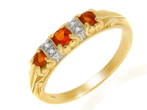 9ct Yellow gold Fire Opal and Diamond Ring - Size M