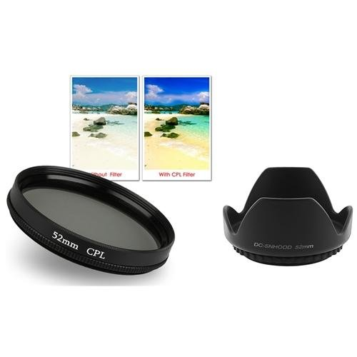 Insten 52Mm Flower Lens Hood+Circular Polarizing Lens Cpl Filter For Nikon D3100 D3000