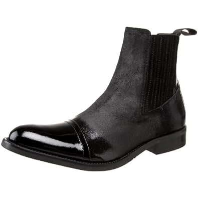 Donald J Pliner Mens Enos Black Suede Patent Boots 15