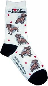 I Love My Red Dachshund White Sock Fantasy Hosiery