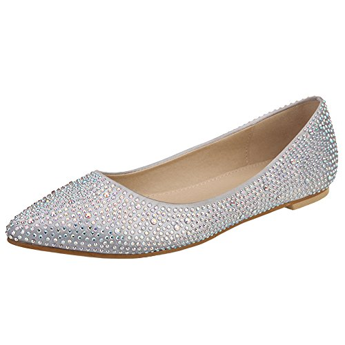 VELCANS Womens's Sparkly Rhinestone Wedding Bridal and Prom Flat Shoes (7 B(M) US, Silver)