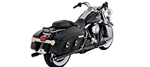 Vance & Hines Big Shot Duals Black with Chrome Tips Exhaust Pipes for Harley 2007-2008 Touring Models