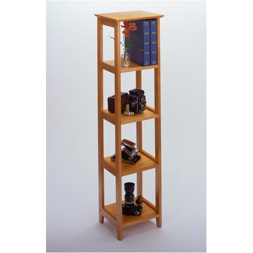 Narrow Shelving Unit 5 Section In Honey Maple Office