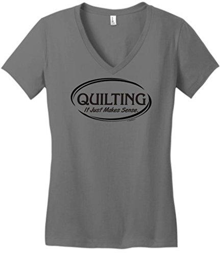 Quilting It Just Makes Sense Juniors V-Neck Large Grey