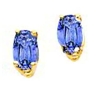 14K Gold Oval Tourmaline Stud Earrings Jewelry 5x3mm