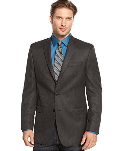 Calvin Klein Slim Fit Black Herringbone Two Button New Men'S Sport Coat (42Xl)
